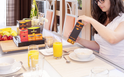 Lifestyle muesli on the breakfast table with 3D printing