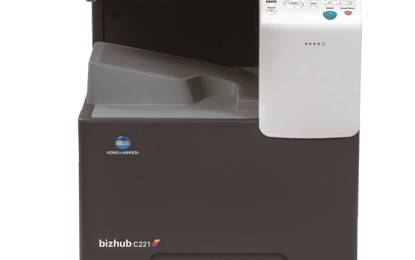 Feature-packed compact multi-functional A3 colour printer bizhub C221