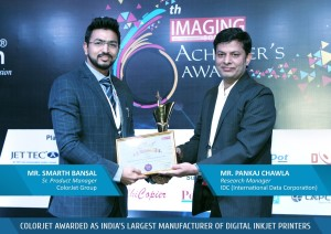 ColorJet's Smarth Bansal Receiving the Award